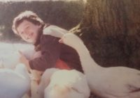 Teenage Kate with geese she reared (not a swan!)
